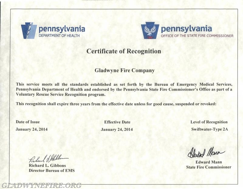 Gfc Achieves Pa Swift Water Rescue Type 2a Certification Gladwyne