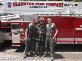 Firefighters Fusaro and Flanagan with Norristown Career Assistant Chief John Remillard (who is also an Assistant Chief at Gladwyne)