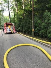 Engine 24 on the Hydrant after laying 5 inch hose from the scene
