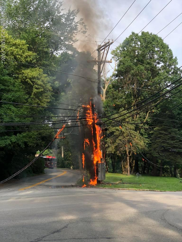 Wires and Pole on Fire