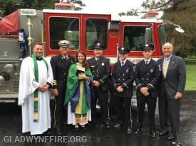 Gladwyne Firefighters Andy Block, Andy Culbertson, Tony Fisher, Sean Meals and Past President Tom Zug with Reverend Raining and Reverend Kellner after blessing Ladder 24