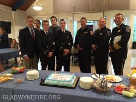 Members of Gladwyne Fire Company and Narberth Ambulance attending the reception along with Commissioner Scott Zelov.