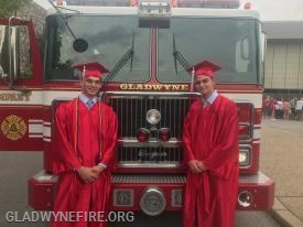 Ben and Colin at Harriton's graduation.  Engine 24 provided a ride to our Graduates!
