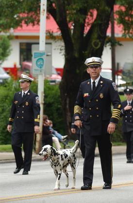 Chief Block and Lucky marching in Bryn Mawr Fire Company's Parade